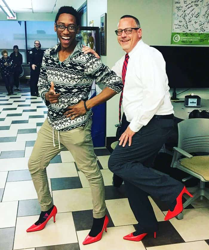 Northampton Community College Admissions members proudly pose in their red heels