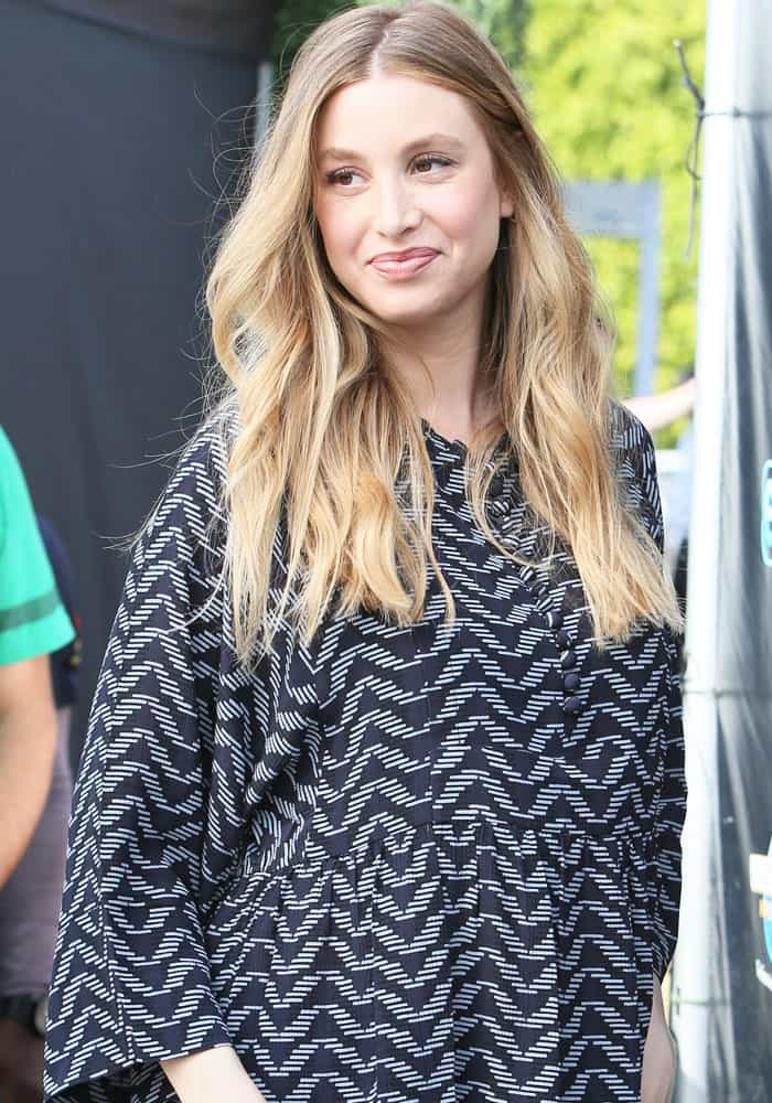Whitney Port arrives at Universal Studios where she was interviewed by Charissa Thompson for the television show 'Extra' in Los Angeles on April 18, 2017