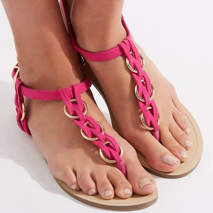 'Yasha' Flat T-Strap Sandals