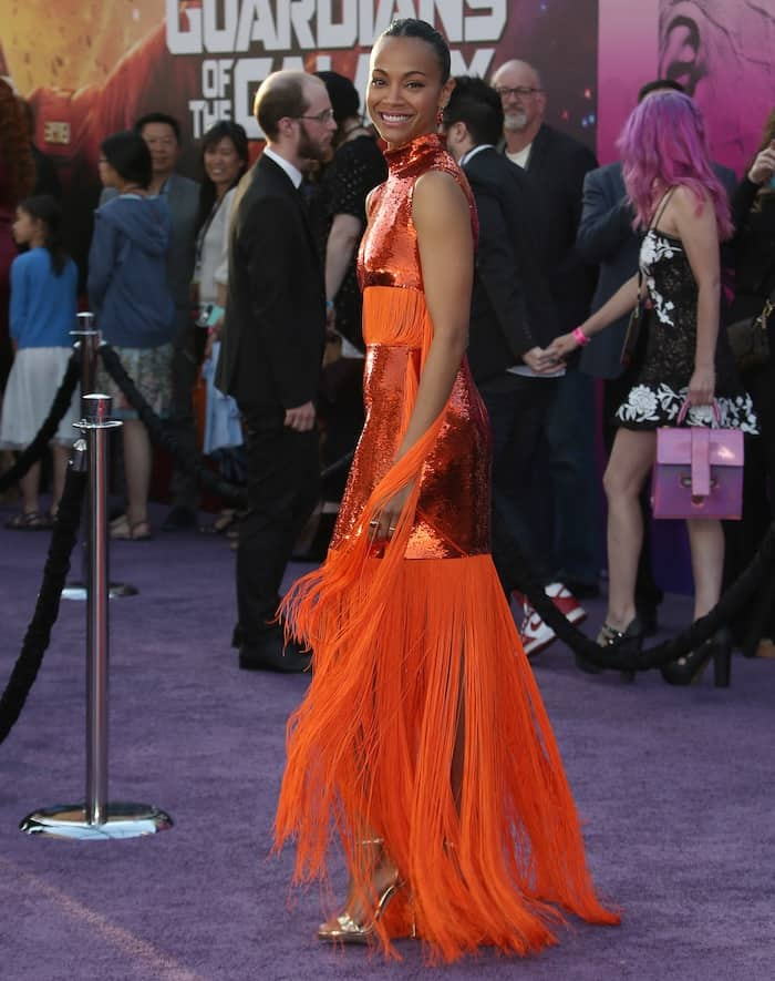 Zoe Saldana in a custom Emilio Pucci gown for the world premiere of Guardians of the Galaxy Vol. 2 at the Dolby Digital Theatre in Los Angeles on April 19, 2017
