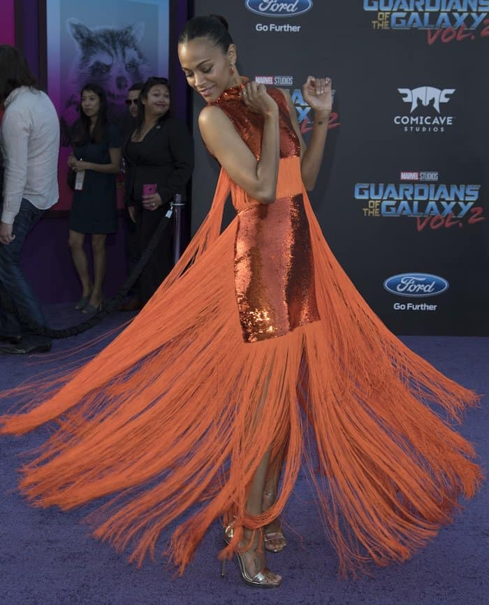 Zoe Saldana was dressed in a custom Emilio Pucci creation that was decked with sequins and fringe