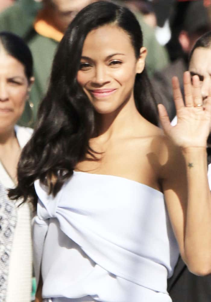 "Zoe Saldana seen arriving at the ABC studios for ""Jimmy Kimmel Live!"" in Los Angeles on April 17, 2017"