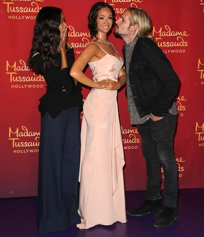 Zoe Saldana was joined by her husband to unveil her wax figure at Madame Tussauds' Museum in Hollywood on April 7, 2017