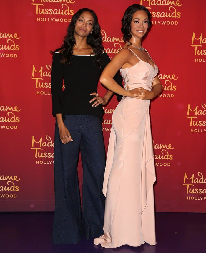 Zoe Saldana unveils her wax figure at Madame Tussauds' Museum in Hollywood on April 7, 2017