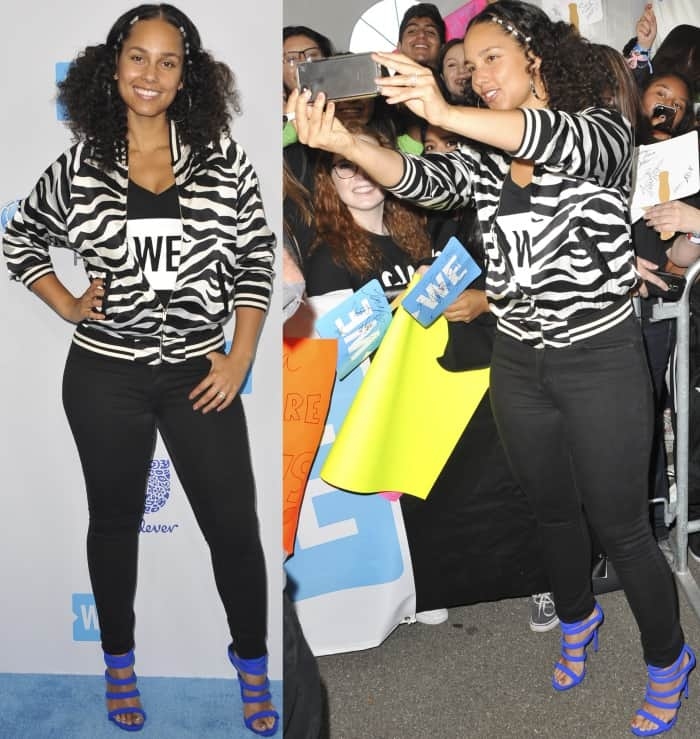 "Alicia Keys wearing a monochromatic outfit with electric blue ""Chantal"" sandals from Giuseppe Zanotti"