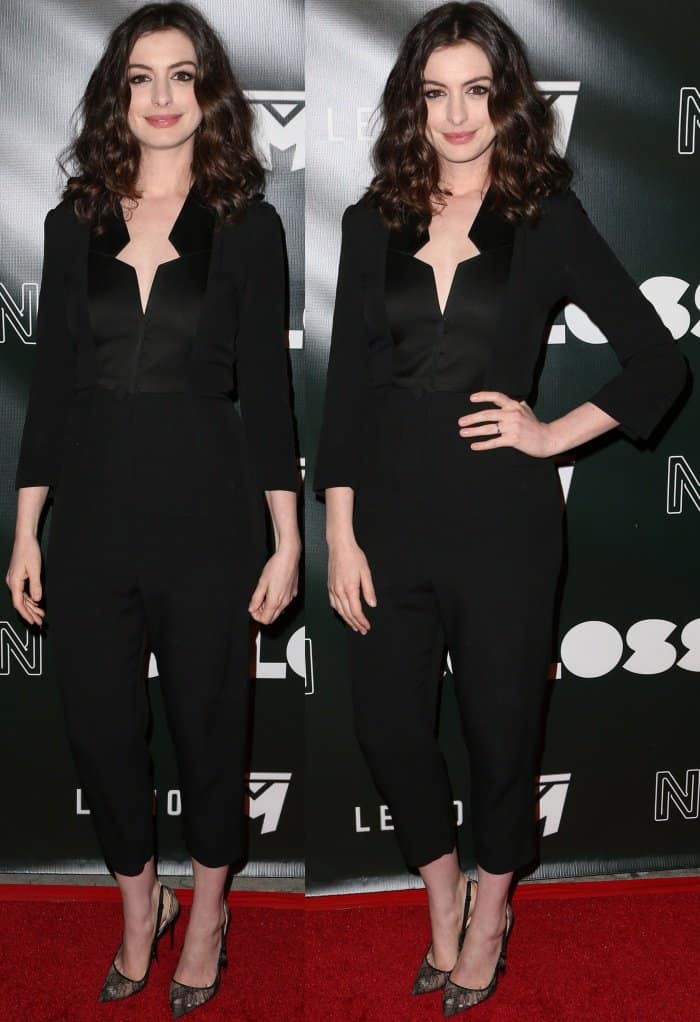 "Anne Hathaway wearing a Vivienne Westwood Red Label Spring 2014 jumpsuit and Christian Louboutin ""Hot Jeanbi"" Pumps at the ""Colossal"" LA Premiere"