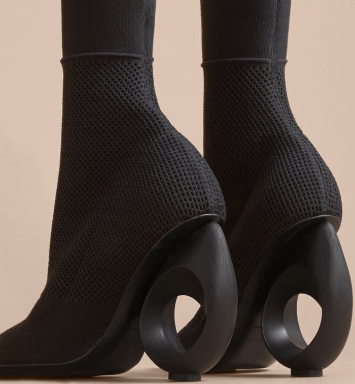 Burberry Mid-Calf Knitted Boots with Sculpted Heels