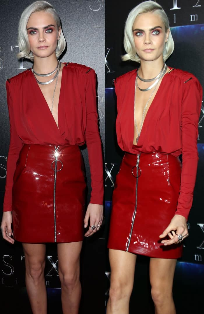 Cara Delevingne wearing a red ensemble from Mugler's pre-fall 2017 collection and red velvet pumps from Jimmy Choo at CinemaCon 2017