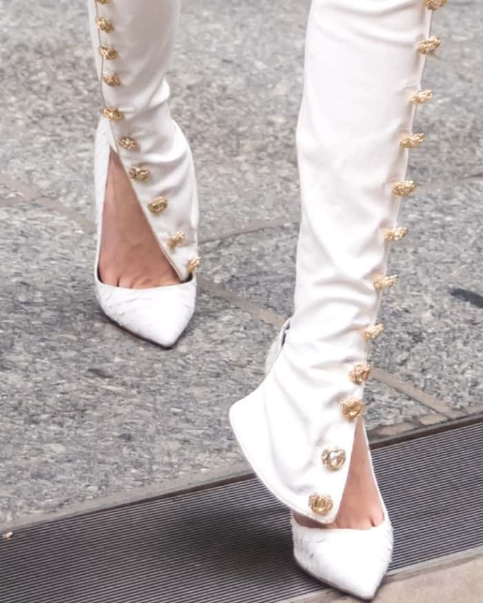 Cara Delevingne wearing Olgana Paris pumps in NYC