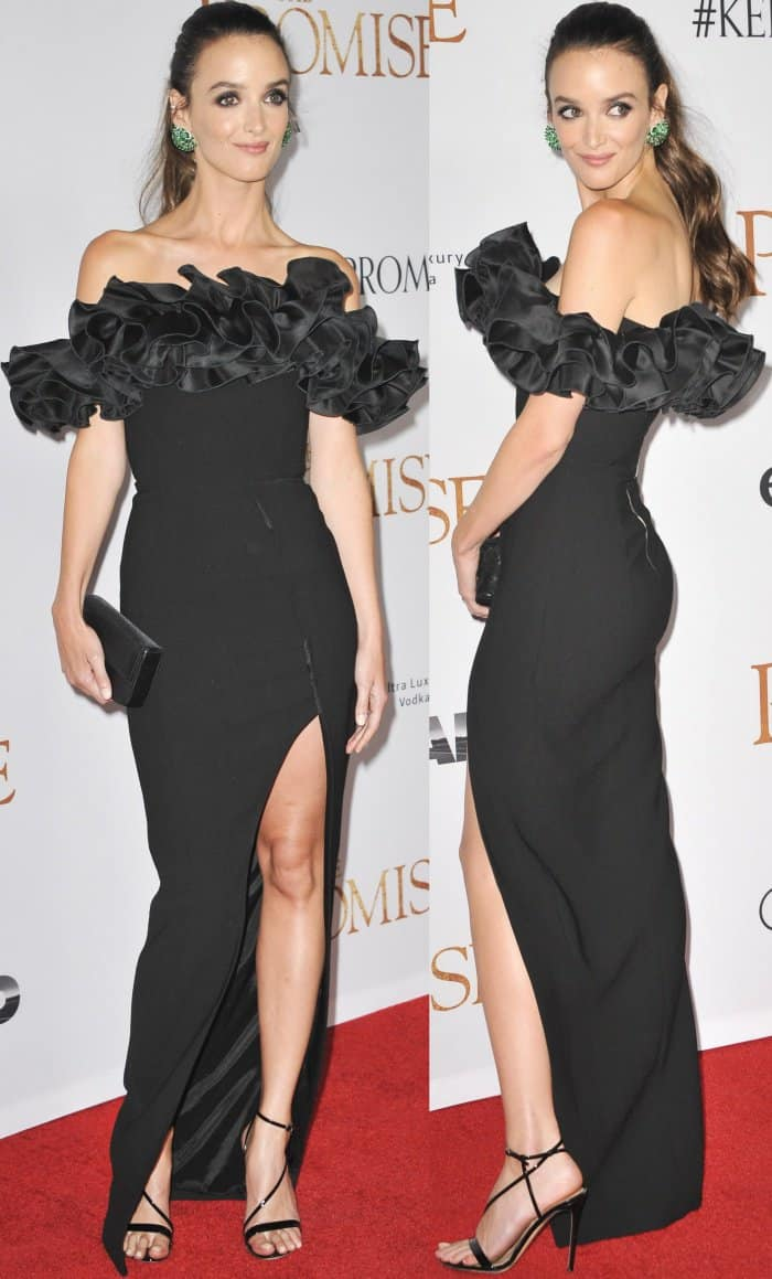 """Charlotte Le Bon wearing a Rosario spring 2017 gown and Gianvito Rossi """"Carlyle"""" sandals at the premiere of """"The Promise"""""""
