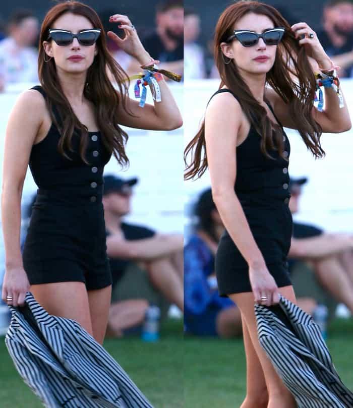 Emma Roberts wearing Aritzia matching separates during day 2 of Coachella 2017