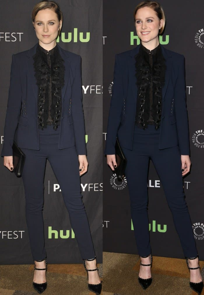 "Evan Rachel Wood wearing a custom Roberto Cavalli suit and Le Silla pumps at Media's 34th Annual PaleyFest Los Angeles ""Westworld"" Panel"
