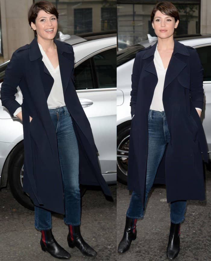 """Gemma Arterton arriving at the BBC Radio 2 studios in Gucci """"Karen"""" booties"""