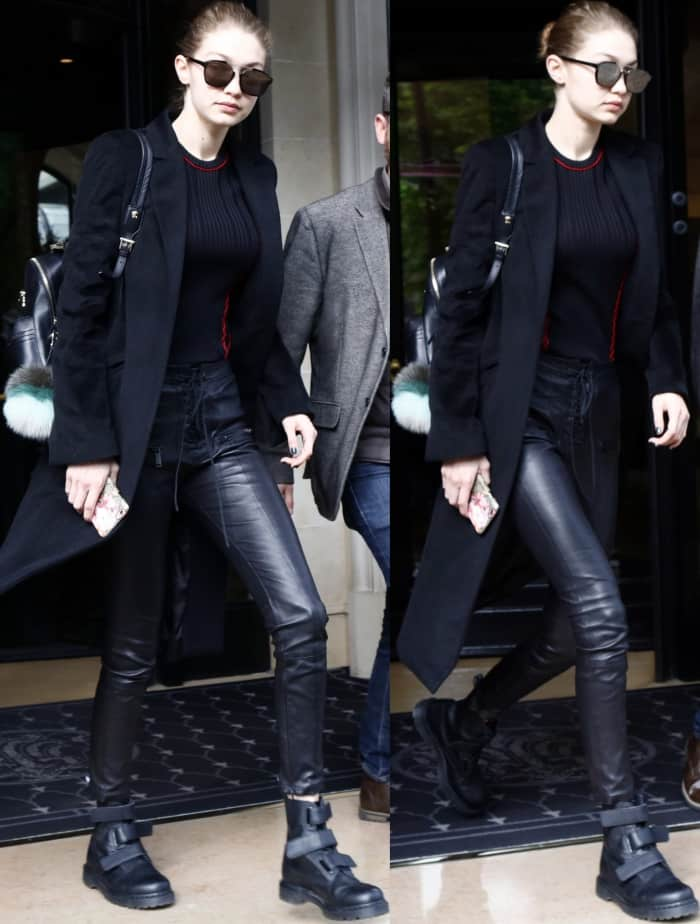 Gigi Hadid In Dr Martens Coralia Boots And Tony Bianco