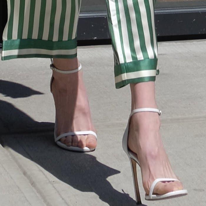 """Gigi Hadid wearing Stuart Weitzman """"Nudistsong"""" sandals in NYC"""