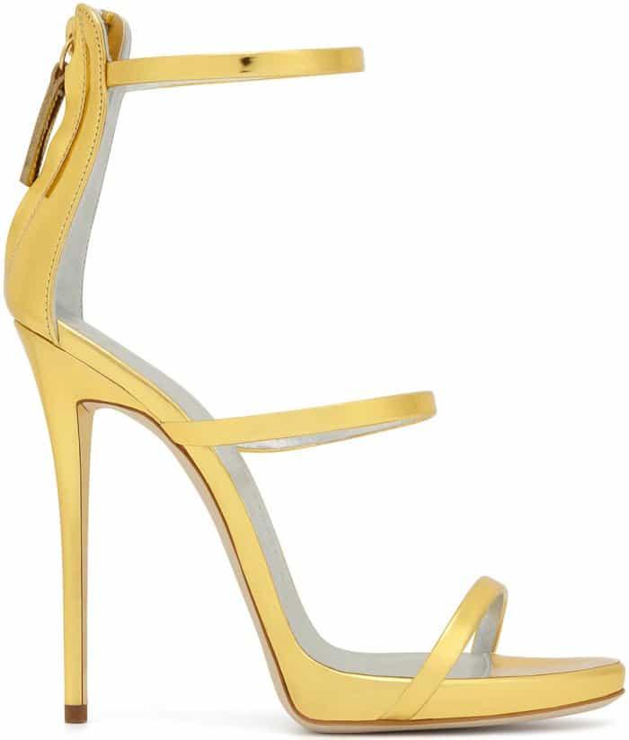 "Giuseppe Zanotti ""Harmony"" Sandals in Gold Mirrored Leather"