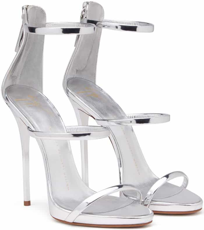 "Giuseppe Zanotti ""Harmony"" Sandals in Mirrored Silver Leather"