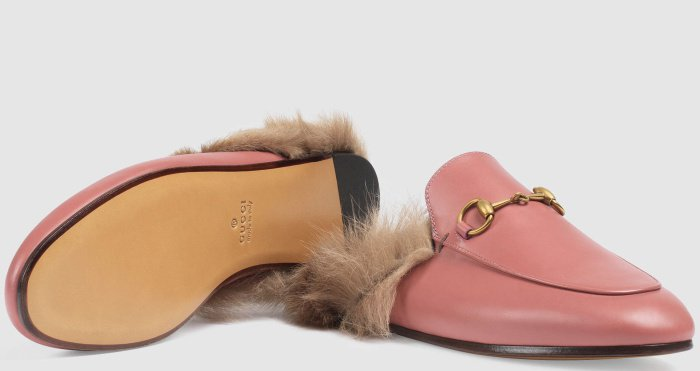 """Gucci """"Princetown"""" Slippers in Pink Rose Leather"""