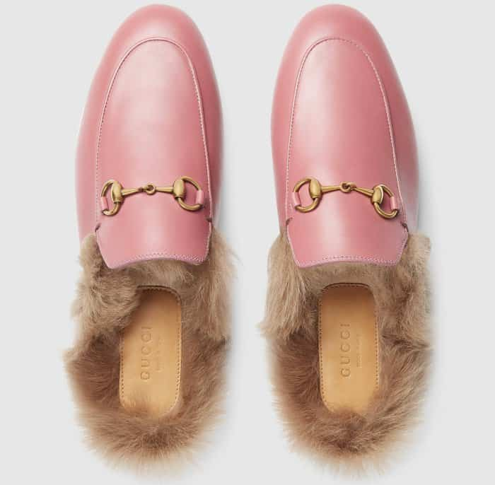 "Gucci ""Princetown"" Slippers in Pink Rose Leather"