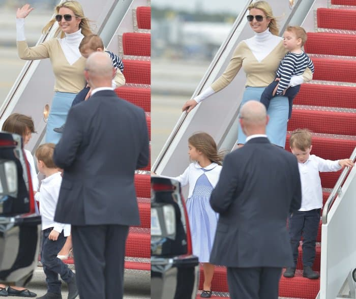Ivanka Trump stepping off the plane with Theodore Kushner, Arabella Rose Kushner, and Joseph Frederick Kushner