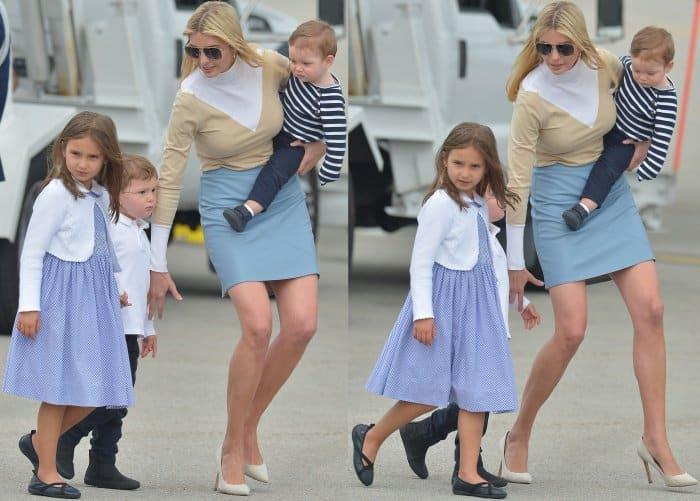 Ivanka Trump arriving with her children in Palm Beach, Florida