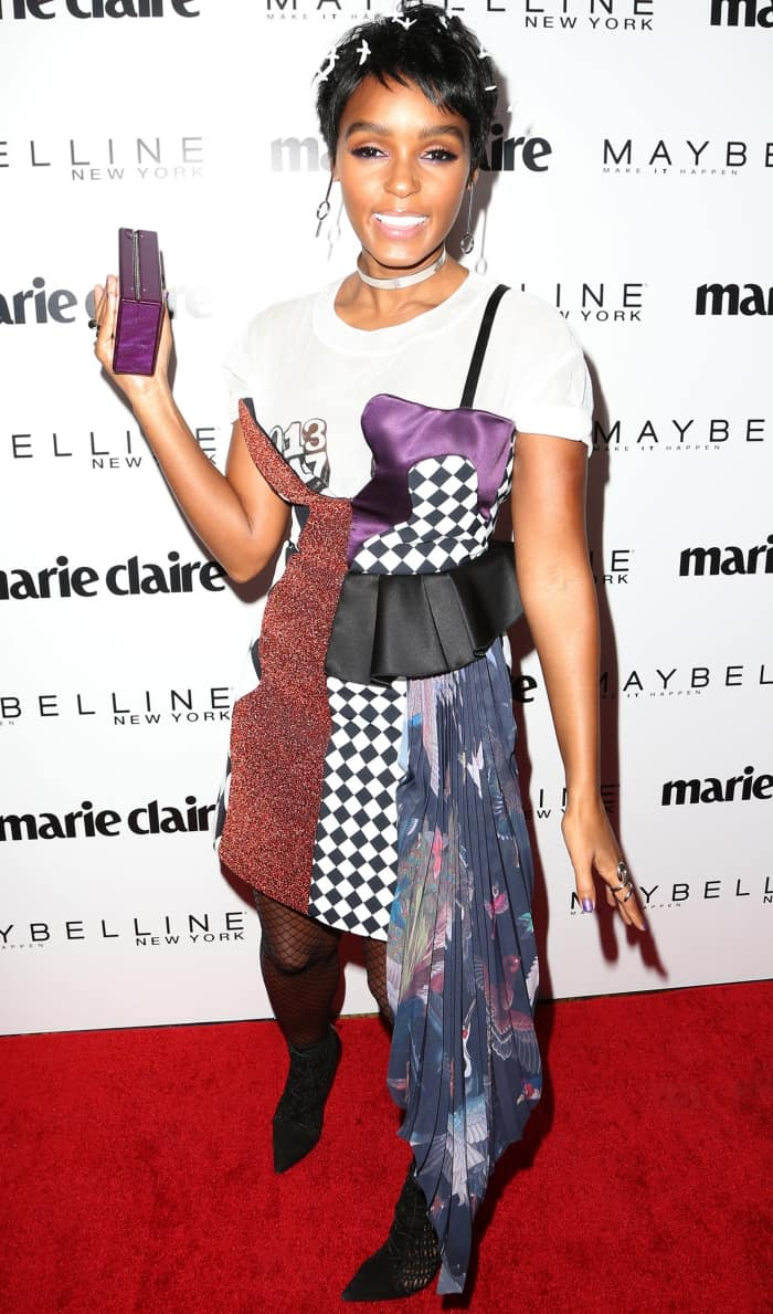 "Janelle Monáe wearing an Off-White spring 2017 ensemble and Schutz ""Jolana"" booties at Marie Claire's ""Fresh Faces"" event"