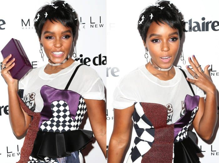 """Janelle Monáe wearing an Off-White spring 2017 ensemble and Schutz """"Jolana"""" booties at Marie Claire's """"Fresh Faces"""" event"""