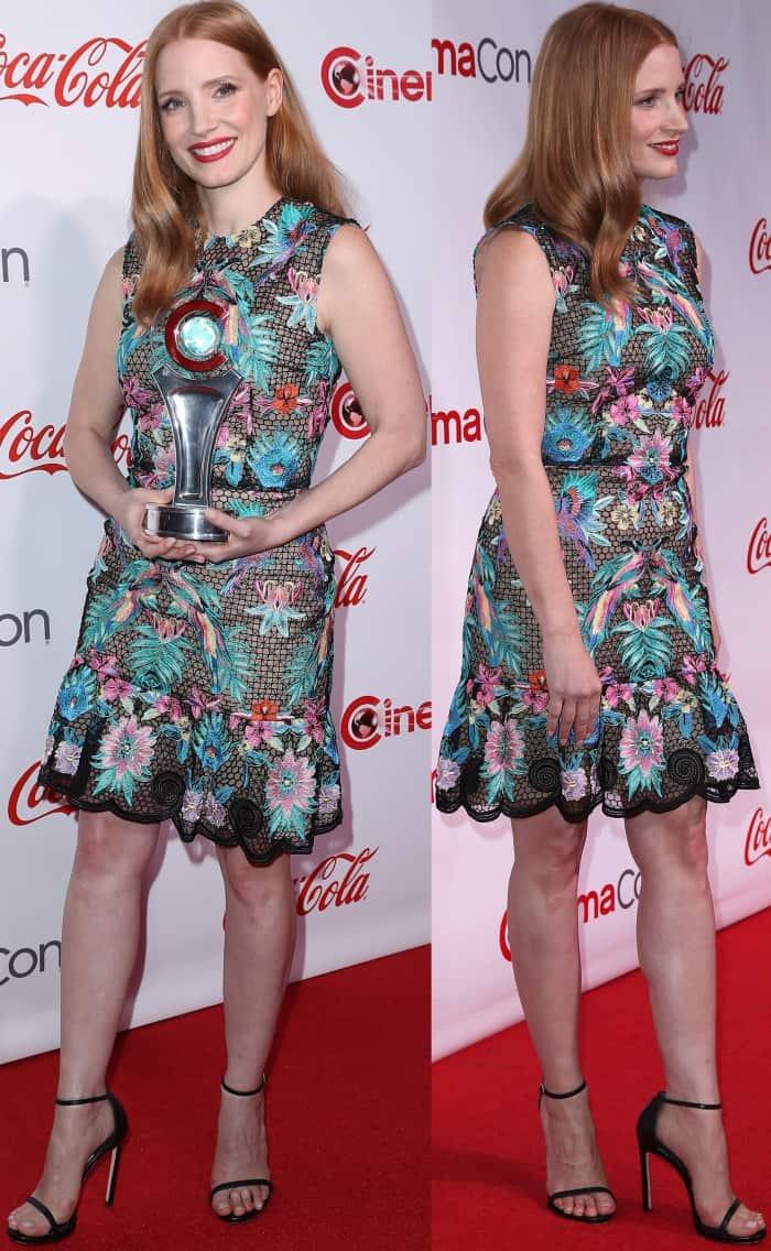 Jessica Chastain wearing a Zuhair Murad macrame dress and Stuart Weitzman sandals at the CinemaCon 2017 Big Screen Achievement Awards