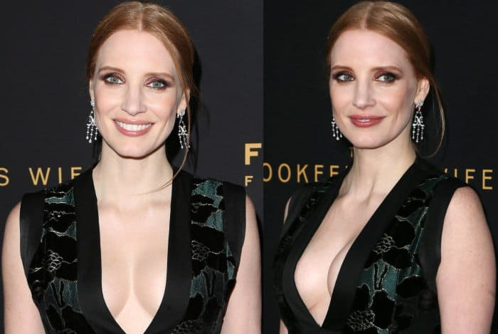 "Jessica Chastain wearing an Alexander McQueen gown and Charlotte Olympia pumps at ""The Zookeeper's Wife"" premiere"