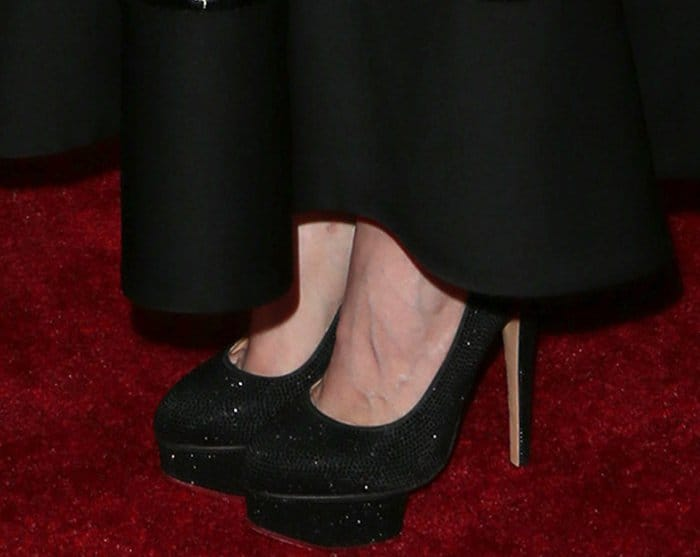 "Jessica Chastain wearing Charlotte Olympia pumps at ""The Zookeeper's Wife"" premiere"