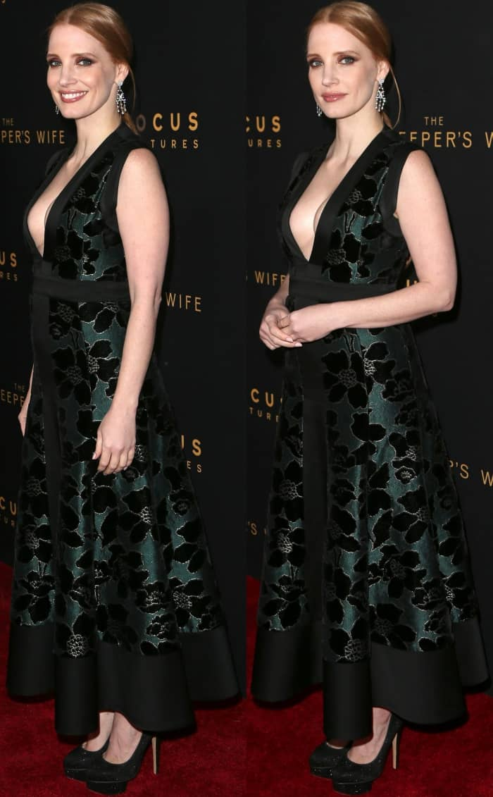 """Jessica Chastain wearing an Alexander McQueen gown and Charlotte Olympia pumps at """"The Zookeeper's Wife"""" premiere"""