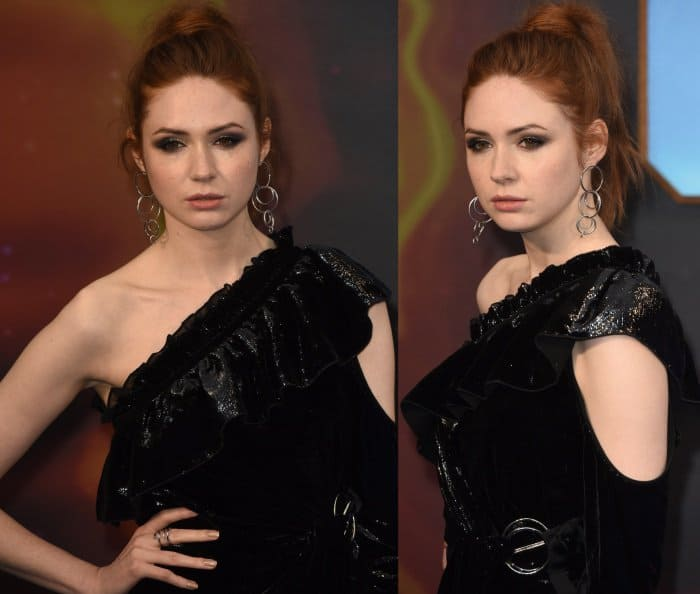 "Karen Gillan wearing a Self-Portrait dress and Giuseppe Zanotti ""Harmony"" sandals at the ""Guardians of the Galaxy Vol. 2"" London premiere"
