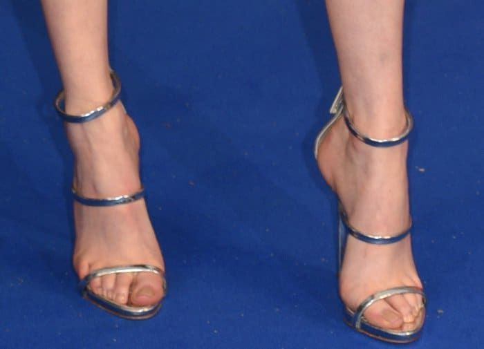 "Karen Gillan wearing Giuseppe Zanotti ""Harmony"" sandals at the ""Guardians of the Galaxy Vol. 2"" London premiere"