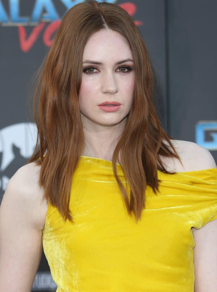 "Karen Gillan wearing head-to-toe Monse at the ""Guardians of the Galaxy Vol. 2"" world premiere"