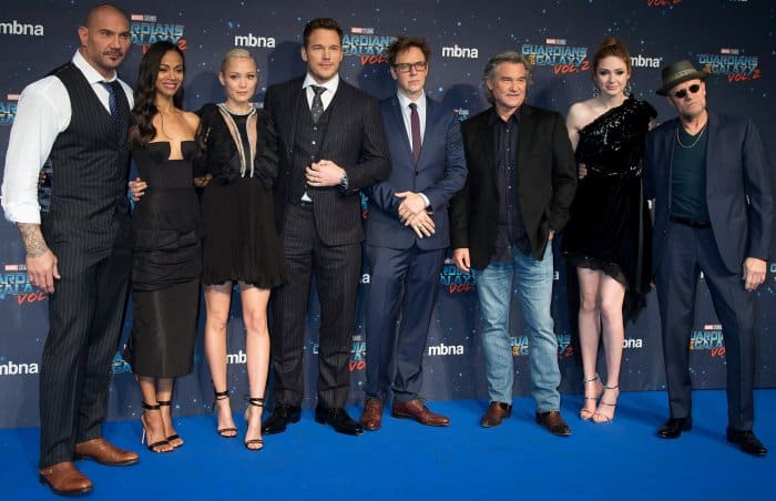 Karen Gillan with David Bautista, Zoe Saldana, Pom Klementieff, Chris Pratt, James Gunn, Kurt Russell, and Michael Rooker