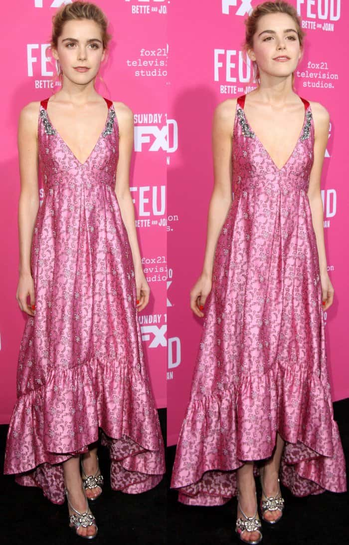 """Kiernan Shipka wearing a pink Erdem pre-fall 2017 gown with silver heels at the """"Feud: Bette and Joan"""" FYC event"""