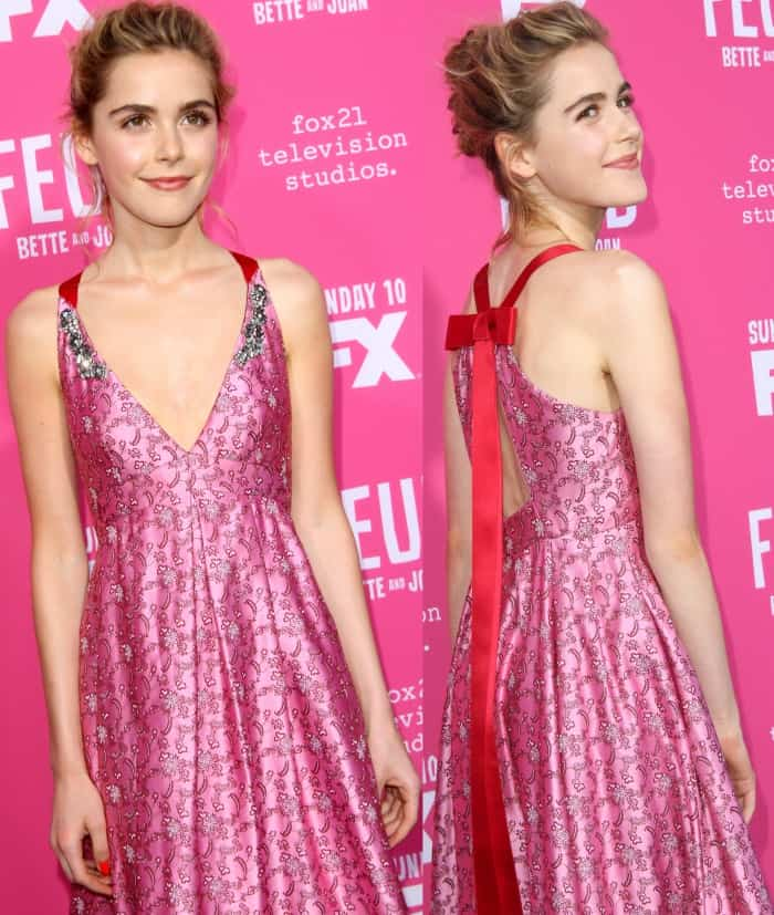 "Kiernan Shipka wearing a pink Erdem pre-fall 2017 gown with silver heels at the ""Feud: Bette and Joan"" FYC event"