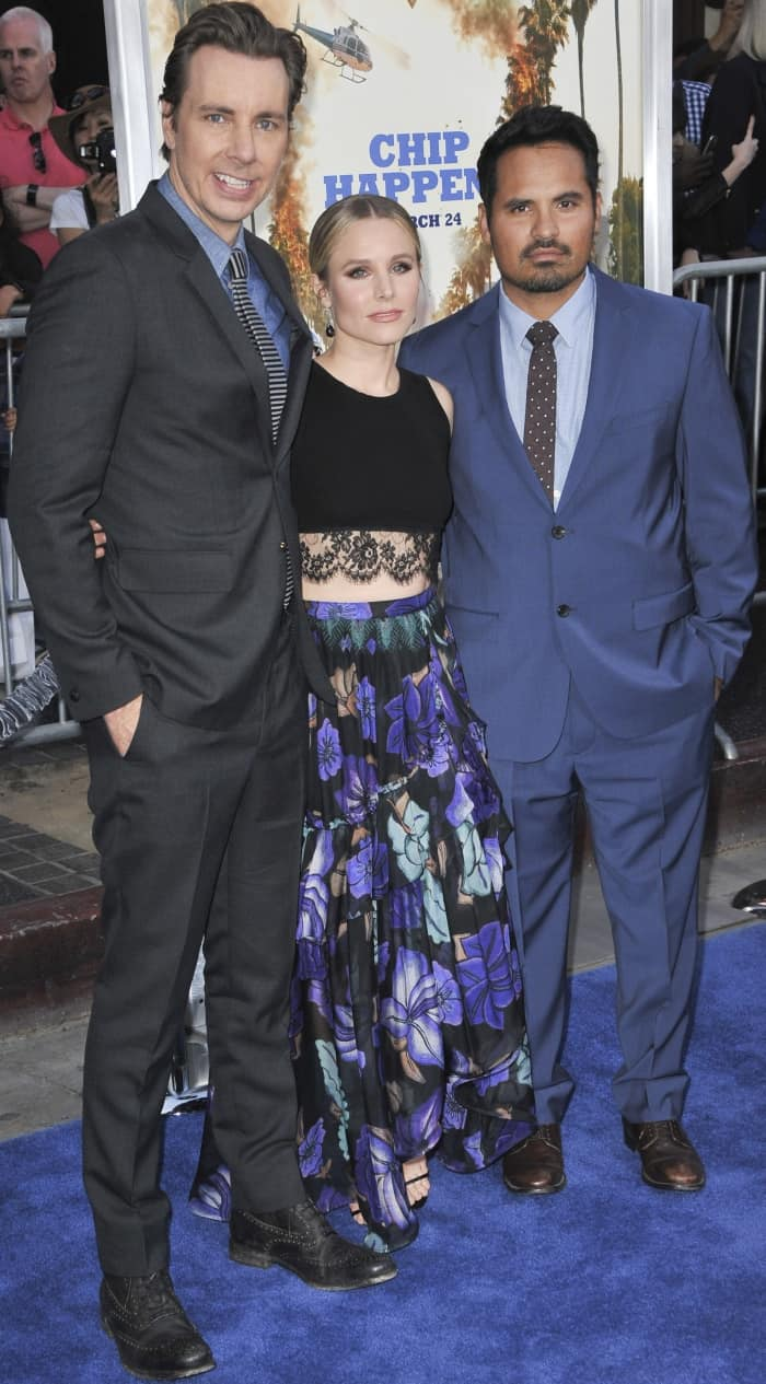 """Dax Shepard, Kristen Bell, and Michael Peña at the premiere of """"Chips"""""""