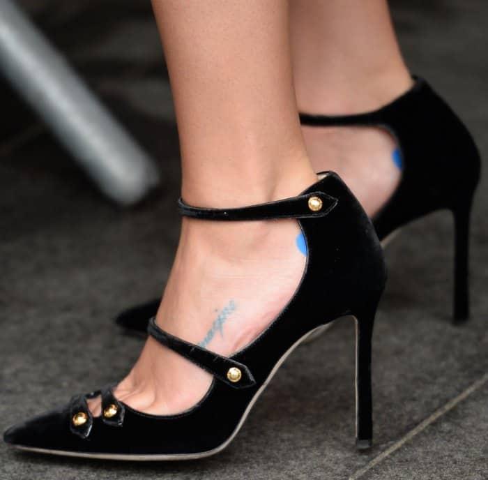 3dd9c363091 Lea Michele wearing a Philosophy di Lorenzo Serafini lace dress and Jimmy  Choo