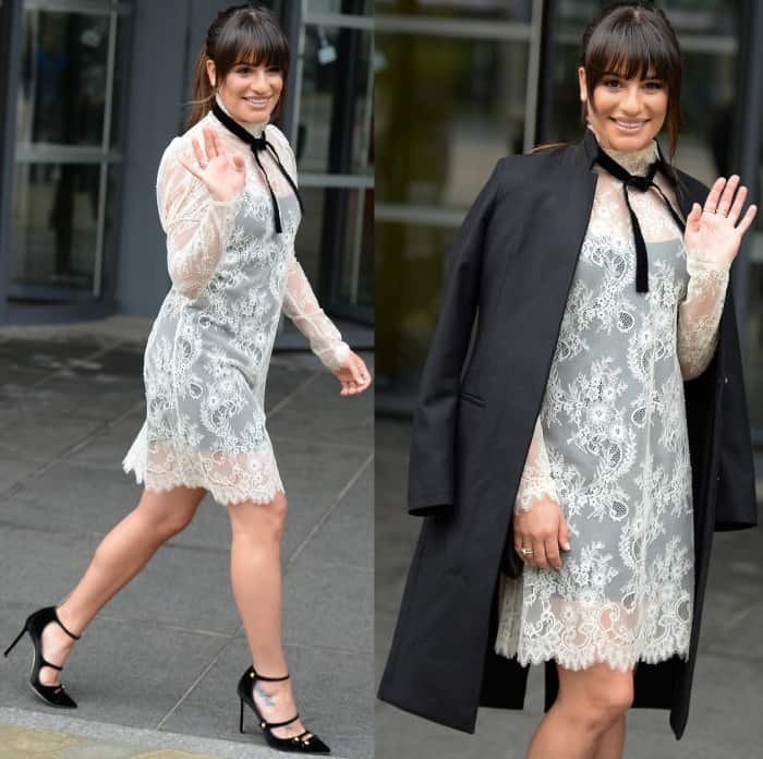 "Lea Michele wearing a Philosophy di Lorenzo Serafini lace dress and Jimmy Choo ""Lacey"" pumps"