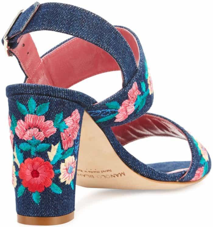"Manolo Blahnik ""Khan"" Embroidered Block-Heel Sandals"