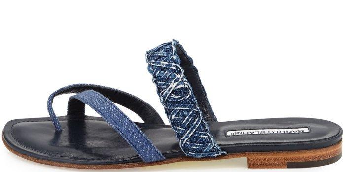 """Manolo Blahnik """"Susa"""" Braided Denim Slide Sandals"""