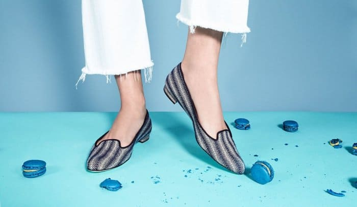 "Manolo Blahnik ""Shari"" Woven Fabric Loafers"