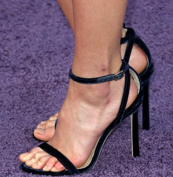 """Pom Klementieff wearing a Chanel dress and black ankle-strap sandals at the """"Guardians of the Galaxy Vol. 2"""" world premiere"""