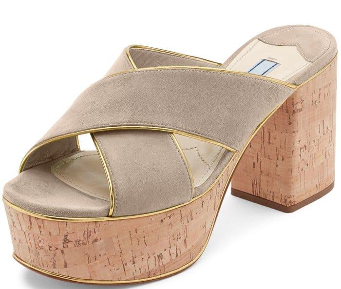 Prada Suede Platform Cork-Heel Mule Sandals