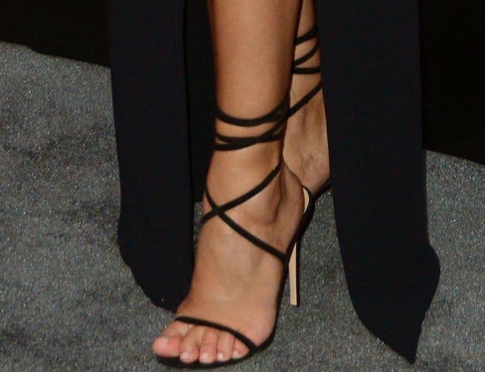Rosie Huntington-Whiteley wearing Gianvito Rossi Glitter Ankle-Strap Sandals