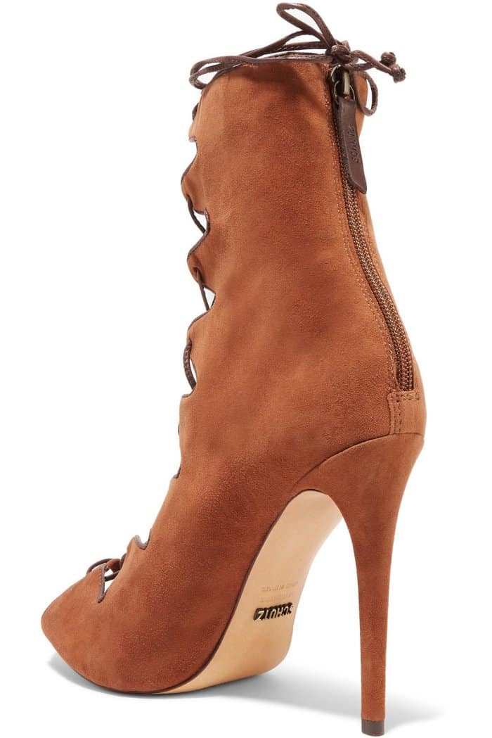 Schutz Leather-Trimmed Suede Lace-Up Sandals