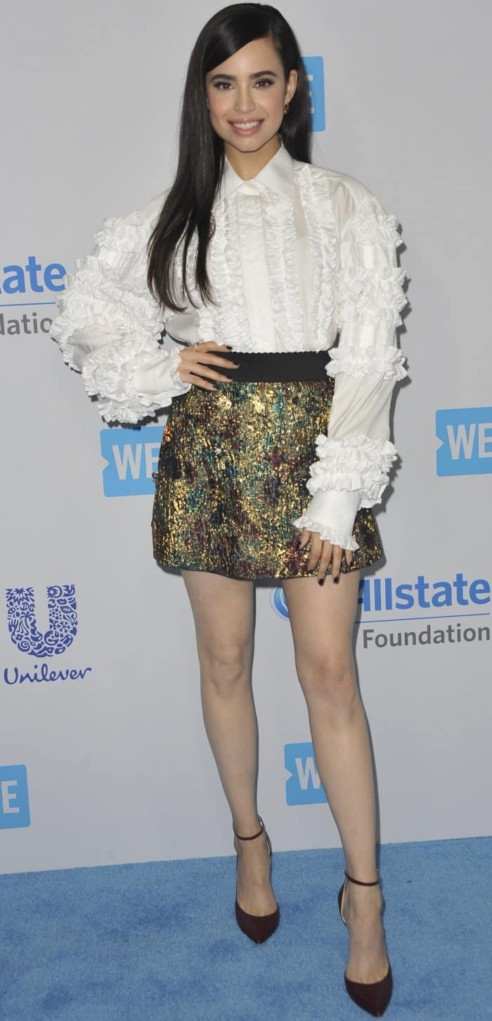 "Sofia Carson wearing a Dolce & Gabbana spring 2017 ensemble and Jimmy Choo ""Lucy"" pumps"