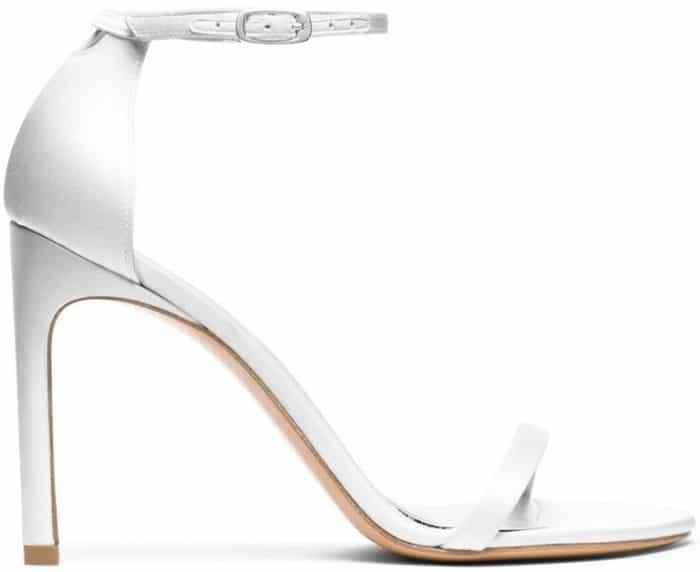 "Stuart Weitzman ""Nudistsong"" Sandals in White Satin"