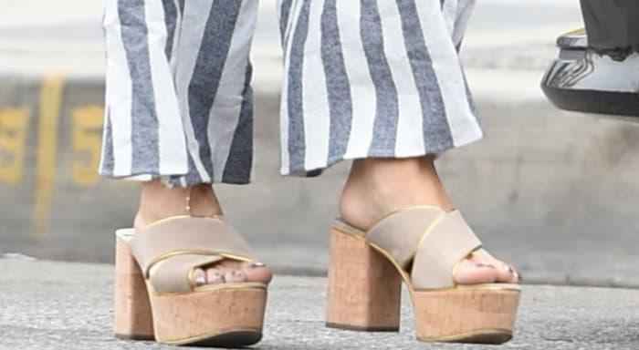 Vanessa Hudgens wearing Prada platform mule sandals